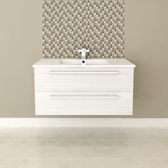 """$730 white cultured marble top -Cutler Kitchen & BathSilhouette Collection 36"""" Wall Hung Vanity with Top - Fixture Universe"""