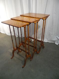 3 small tables marquetry - Tables - Game tables - small tables - Furniture - Nord Antique
