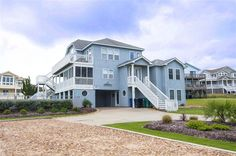 EVERYBODY DUCK, #887 l Duck, NC - Outer Banks Vacation Rental Home l Oceanside home with eight bedrooms (4 masters), ocean and sound views, two dens with TV, screened-in porch, private pool, hot tub, tiki bar and volleyball court. l www.CarolinaDesigns.com