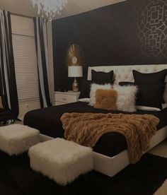 Black White & Gold Bedroom - Home - Bedroom Home Decor Bedroom, Living Room Decor, Bedroom Ideas, Bedroom Designs, Diy Bedroom, Modern Bedroom, Bedroom Themes, Dream Bedroom, Dream Rooms