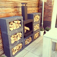 Creative DIY Outdoor Firewood Rack Ideas for Storage, Outdoor Firewood Rack, Firewood Storage, Outdoor Storage, Patio Design, Garden Projects, Garden Furniture, Backyard Landscaping, Garden Inspiration, Outdoor Gardens