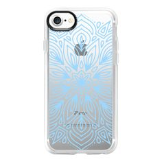 Cerulean Frost Mandala - iPhone 7 Case And Cover ($40) ❤ liked on Polyvore featuring accessories, tech accessories, iphone case, iphone cases, apple iphone case, clear iphone case and iphone cover case