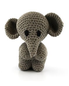 Hoooked Elephant Mo (taupe) amigurumi crochet kit & pattern #crochet #gift #cute #animal #craft
