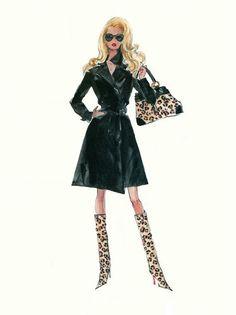 Leopard Print - Robert Best Barbie fashion illustration by Robert Best Barbie Fashion Sketches, Fashion Illustration Sketches, Illustration Mode, Fashion Dolls, Love Fashion, Fashion Art, Fashion Design, Barbie Drawing, Glamour