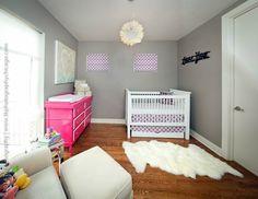 Project Nursery - Modern Fuchsia and Gray Nursery Nursery Modern, Nursery Neutral, Pink And Grey Room, Pink White, Nursery Inspiration, Nursery Ideas, Pink Dresser, Project Nursery, Cool Baby Stuff