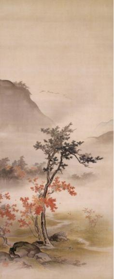 Hashimoto Gaho (1835-1908) ~ Cerisiers en fleur et feuilles d'automne (diptych), vers 1893