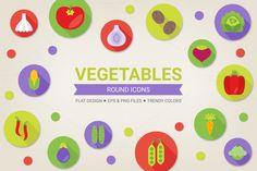 Check out Round vegetables icons by miumiu on Creative Market