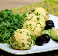 Mini Causa Bites - Spicy Yellow Potatoes with Chicken Salad:  Mini Causas  This is SO good.
