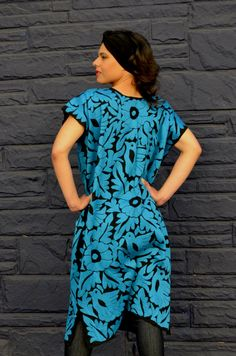 Gorgeous Blue Mexican Hand Embroidered Dress / Huipil / Tunic from Jalapa de Diaz
