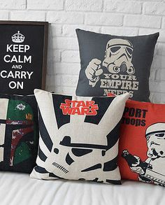 """Cartoon Star Wars Movie Poster Pillow Case Cushion Cover Square Linen 17"""" Decor"""