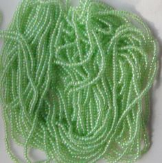 Lime Green AB Vintage Seed Beads Full Hank Long Strands Last of this color