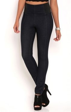 Deb Shops pull on knit #jegging with elastic side insets $18.75