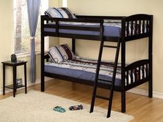 AF Furniture Twin/Twin Wooden Bunk Bed Convertible Fully Slated Black Las Vegas Furniture Online   LasVegasFurnitureOnline   Lasvegasfurnitureonline.com