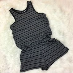 Old Navy Striped Romper Size XS Black Gray Sleeveless Pockets Cotton Poly Knit   | eBay