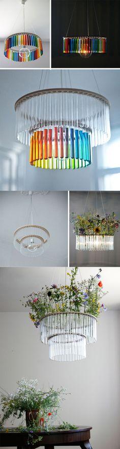 Ingeniosas lámparas con tubos de ensayo