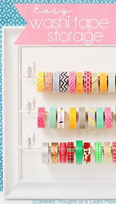 Cute and so easy! Washi Tape storage and organization idea. #washitape #organization