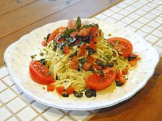 spaghetti using too much peppermint picked in our farm ,tomatoes ,olives and etc.