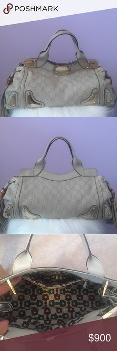 "Gucci ivory ""Guccisima"" leather top handle Gucci embossed GG ivory leather top handle bag  Silver metal closure and corners  Bamboo and tassel leather side detail Excellent condition  Original tag and dust bag included  Originally $2590 Asking $900 Gucci Bags Satchels"