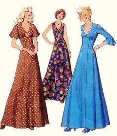 70s Boho Maxi Dress Pattern con capelet o flutter maniche 1170