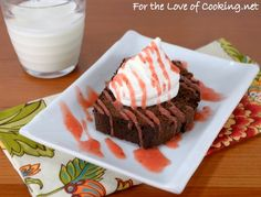 Chocolate Pound Cake with Strawberry Sauce and Vanilla Bean Whipped Cream