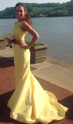 Yellow Prom Dress,New Prom Gown,2 pieces Prom Dresses,customize party dress,