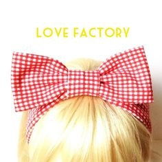 Lovely Retro Vintage Gingham Check Red White Kids Bow Head Band :) Love Factory By Rie Miyamoto on Etsy, $15.00
