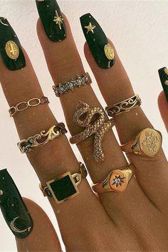 Hand Jewelry, Jewellery, Geometric Star, Snake Design, Charm Rings, Gold Rhinestone, Fashion Sale, Jewelry Party, Fashion Rings