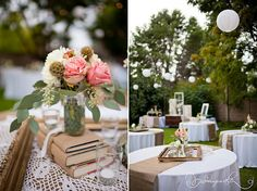 Lace linens with tan. Globe paper lanterns.