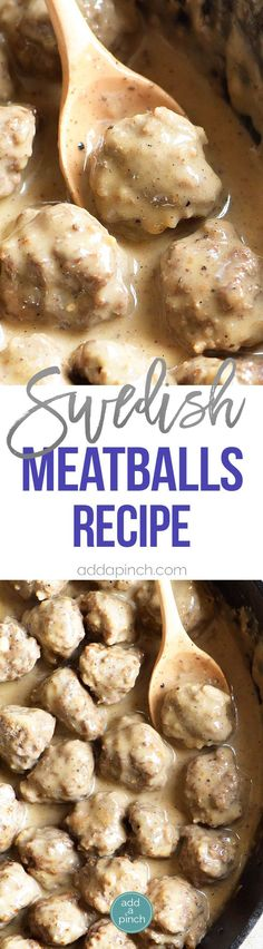 Swedish Meatballs Recipe - Swedish meatballs make a delicious dish served as an appetizer or as a main meal. This family recipe is made from scratch and is a favorite! // addapinch.com
