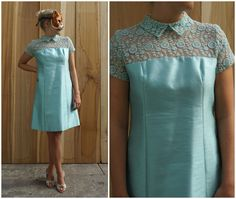 Beautiful Aqua Blue Vintage 60's Mod Silk Shift Dress with Lace Illusion Bodice, Peter Pan Collar and Matching Bra | Medium by AnimalHeadVintage on Etsy