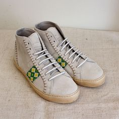 Pantofola D'Oro High Top Sneakers with Beaded Detail - White
