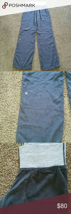 Lululemon Move Me tencel (silk) pant Lululemon SILK pants. Front pockets. Waistband can be rolled down or worn up! Drawstring bottom. Gorgeous condition. No rips, stains or tears. 1st 2 pics are example of how they look on. Actual color is gray! lululemon athletica Pants