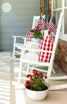 Patriotic Porch by On Sutton Place and other cute and easy Memorial Day, Fourth of July, Labor Day and patriotic DIY decorations!