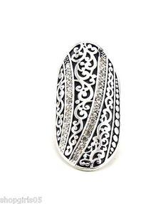 New Beautiful Designer Textured Silver Black with Rhinestones Stretch Ring | eBay