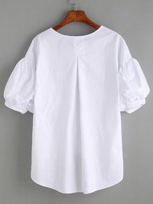Negozio Camicetta A Strisce Prua A Fronte Maniche Puff - Bianco on-line. SheIn offre Camicetta A Strisce Prua A Fronte Maniche Puff - Bianco & di più per soddisfare le vostre esigenze di moda.