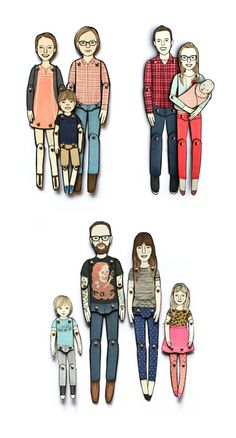 Personalized paper dolls are hand assembled, moveable portraits drawn from your photos by illustrator Jordan Grace Owens. BEFORE YOU PURCHASE,