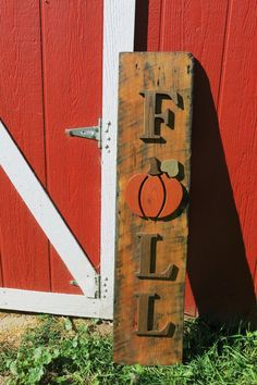 Fall Sign, Pumpkin Sign, Reclaimed wood, with hand cut letters and Pumpkin, Fall…