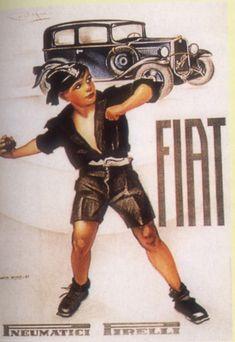 """Affiche publicitaire pour la Fiat """"Balilla""""."""
