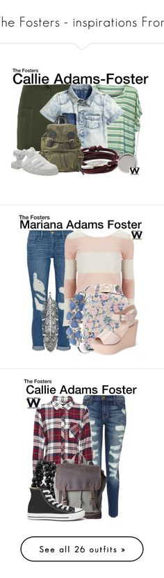"""The Fosters - inspirations From"" by wearwhatyouwatch ❤ liked on Polyvore featuring Band of Outsiders, 1-100, Vince Camuto, Burberry, JuJu, television, wearwhatyouwatch, Frame Denim, Vero Moda and Anne Klein"