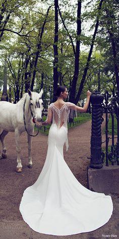 nurit hen 2016 bridal cap sleeve sweetheart neckline illusion vneck sheath fringe beaded bodice wedding dress sexy (04) bv