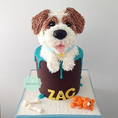 Here is my son's #birthdaycake that I made last week..he asked me to make him a cake of our dog 'Oreo'..Thank goodness he changed his mind on minecraft cake ...#woofwoof #bakeaboo #dripcake #oreocake | by Bake-a-boo Cakes NZ