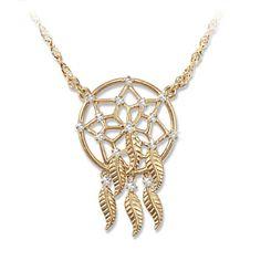 Sacred Spirit Swarovski Crystal Dreamcatcher Necklace ~ The Bradford Exchange
