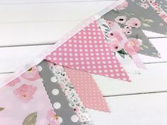 Watercolor Flowers Fabric Bunting Banner, Nursery Bunting, Nursery Garland - Pink and Gray Watercolor Flowers Fabric Bunting, Bunting Banner, Banners, Buntings, Nursery Bunting, Nursery Decor, Pink Grey, Blush Pink, Gray