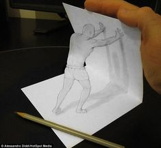 Anamorphic Illusion Drawings by Italian artist Alessandro Diddi Easy 3d Drawing, 3d Art Drawing, How To Make Drawing, 3d Drawings, Amazing Drawings, Drawing Ideas, Paper Drawing, 3d Pencil Art, 3d Pencil Sketches
