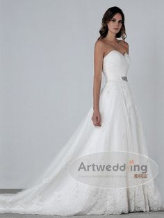 Sweetheart Satin A Line Wedding Dress with Belt and Embroidered Details $199.99