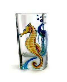 Sea Horse Hand Painted on a Shot glass by LKCustomCreations, $12.00  www.Etsy.com/shop/LKCustomCreations