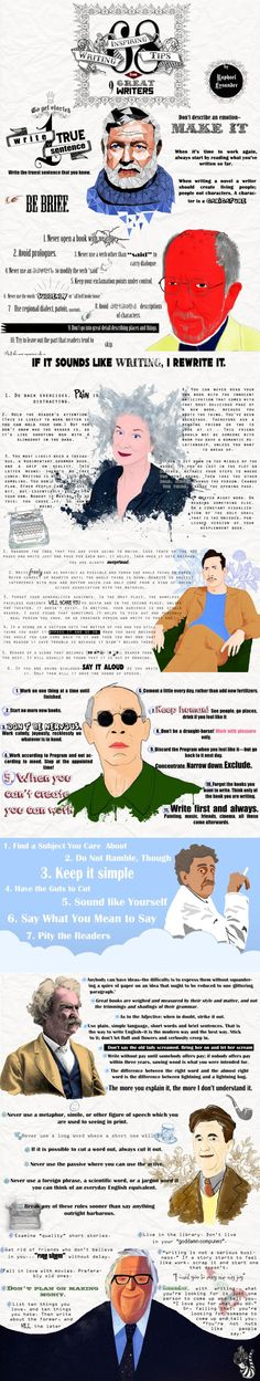 68 inspiring writing tips from famous writers - infographic by Raphael Lysander
