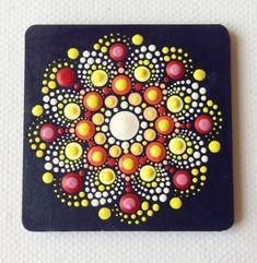 Stip Art Mandala magneet geschilderd hout cadeau decoratie Dot Art Painting, Mandala Painting, Mandala Drawing, Pebble Painting, Mandala Art, Stone Painting, Painting On Wood, The Dot, Painted Rocks
