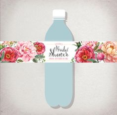 Personalized WATER BOTTLE Labels: Floral Tea Party Bridal Shower - pink coral purple flowers - DIY Printable - Shower Decor - decal sticker by DraftEleven on Etsy https://www.etsy.com/listing/248071089/personalized-water-bottle-labels-floral