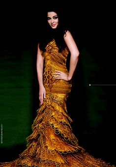 Aishwarya in a outfit made of Bangles in gold {Kalyan Jewelers}